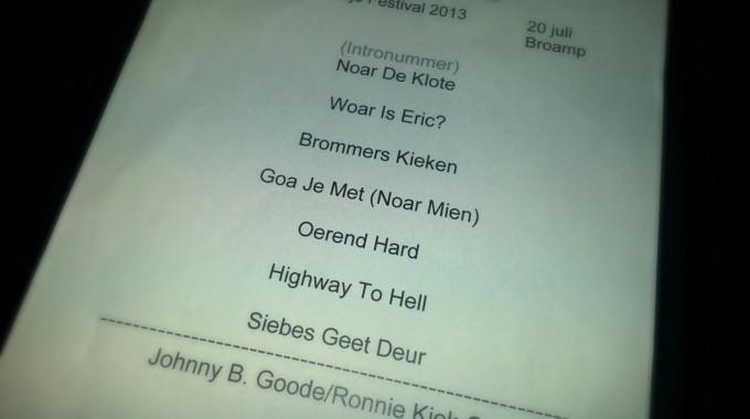Setlist Adje Kratje 2013